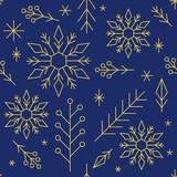 Weihnachten, Geschenkpapier, wiederholendes Muster, goldene geometrische Formen auf dunkelblauem Hintergrund - 230431591