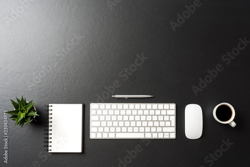 Leinwandbild Motiv Elegant office desktop. Top view