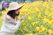 Leinwanddruck Bild - cute and beautiful girl with hat standing in nature outdoors among cosmos flowers field (rest time on vacation concept)