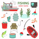 Fishing color vector icons set. Flat design - 230440557