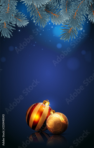 Christmas golden balls on the blue background. Highly realistic illustration.