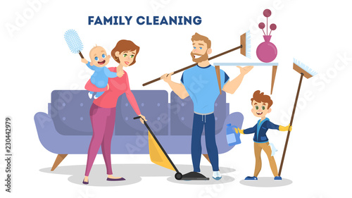 Family cleaning the house together. Mother, father and children - 230442979