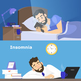 Stressed man suffering from the insomnia set. - 230443345