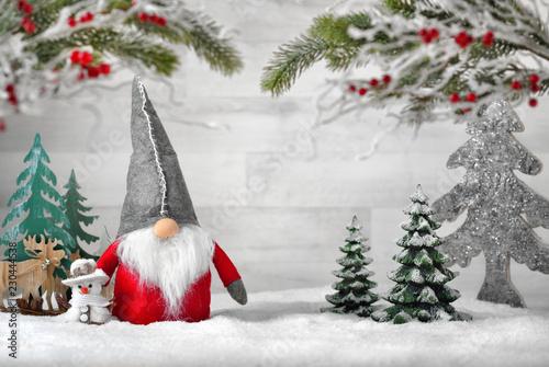 Leinwanddruck Bild Dekorierte Szene für Weihnachten und Winter