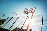 Blue sky. Focused picture on basketball court that being well equipped - 230453940