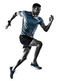one caucasian man runner jogger running jogging isolated on white background with shadows - 230456317
