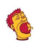 mund fressen groß riesig erdbeere fruchtig lecker obst beeren hunger essen gesund naschen kochen marmelade clipart comic cartoon - 230457536
