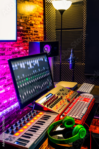 recording, broadcasting, sound editing, post production equipment in studio - 230465126