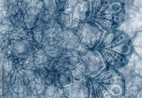 Abstract mandala graphic design and watercolor digital art painting for ancient geometric concept background - 230466778