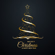 Vector Abstract cover Golden Christmas Tree, with text