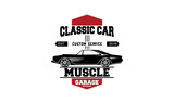 Car logos templates vector design elements, vintage style emblems and badges retro illustration. Classic cars repairs, tire service silhouettes. - 230470179