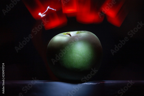 green apple abstract background light painting photography freeze light - 230470724