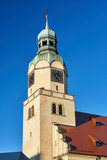 Neo-Renaissance clock tower of the church in Poznan .