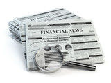 Financial news newspaper isolated on white background. - 230475528