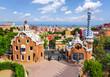 Leinwandbild Motiv Guell park in summer, Barcelona, Spain