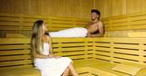Couple talking in a sauna - 230481120