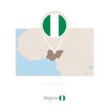 Rectangular map of Nigeria with pin icon of Nigeria - 230490163