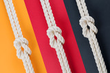 White ship ropes connected by reef knot set - 230494374