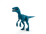 Blue dinosaur VelociRaptor isolated on white background