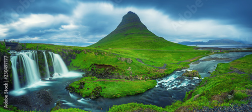 Kirkjufell mountain and waterfalls in Iceland, panoramic travel background