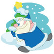 Running Santa Claus, cartoon vector character. - 230499514