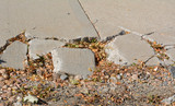 Broken sidewalk concrete in need of repair with fallen dead leaves and concept of brokenness of society - 230503181