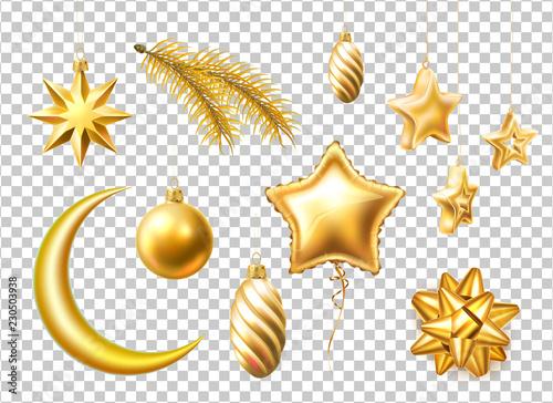 Vector merry christmas realistic symbols, toys set