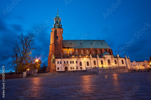 Statue and Gothic cathedral church by night in Gniezno . - 230504578