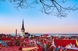 Leinwanddruck Bild - Beautiful view to the Old Rown of Tallinn from the city wall at sunset