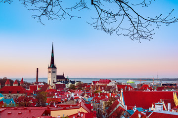 Beautiful view to the Old Rown of Tallinn from the city wall at sunset