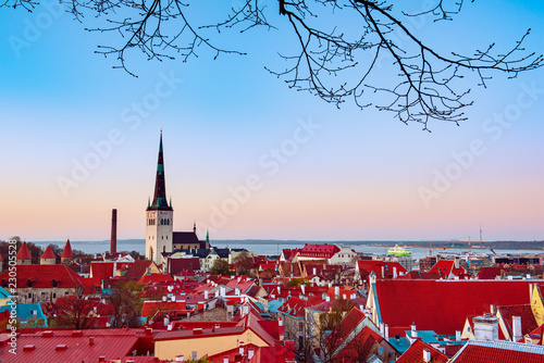 Leinwanddruck Bild Beautiful view to the Old Rown of Tallinn from the city wall at sunset
