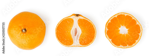 Ripe tangerine and two halves on a white. Isolated. - 230507735