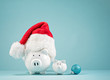 Christmas finances piggy bank wearing santa hat - 230508756