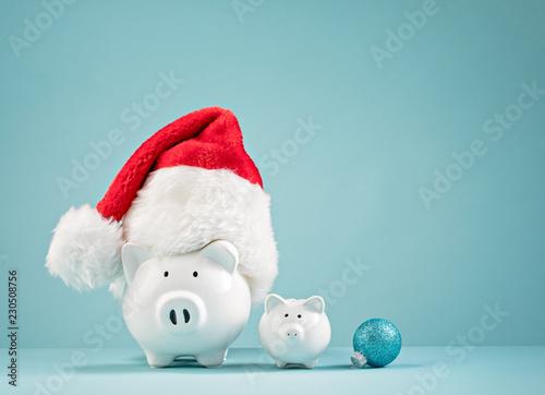 Christmas finances piggy bank wearing santa hat © jfunk