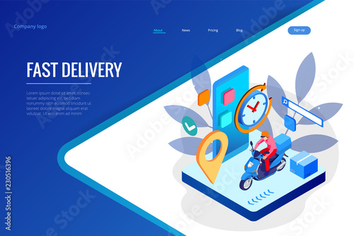 Isometric Fast and Free Delivery by Man Ride Scooter concept. Food service. Website Banner, vector illustration