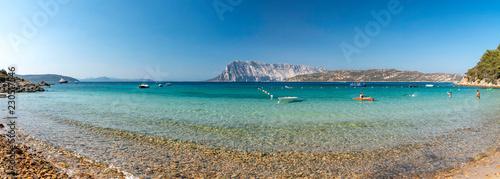 Panoramic view of North Sardinia beach with Tavolara island on the background - 230517546
