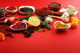 Spices and herbs on table. Food and cuisine ingredients. - 230518306