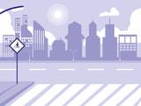 road street scene isolated icon