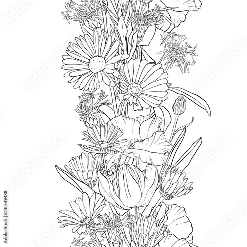 vector seamless pattern with flowers © cat_arch_angel