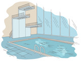 Swimming pool tower graphic color interior sketch illustration vector - 230551511