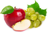Fresh apple and grapes on white background