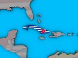 Cuba with embedded national flag on blue political 3D globe.