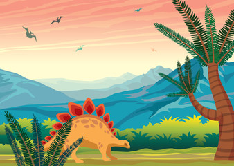 Prehistoric landscape with dinosaurs, mountains and plants. © Natali Snailcat