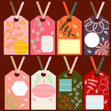 labels with colorful floral ornaments - 230561785