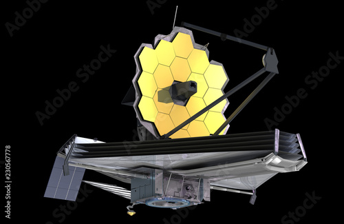 The James Webb Space Telescope (JWST or Webb), 3d illustration, elements of this image are furnished by NASA - 230567778