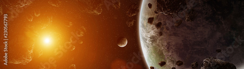 Panoramic view of planets in distant solar system 3D rendering elements of this image furnished by NASA - 230567793