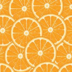 Seamless pattern with orange slices on a white background. © skazka4111980