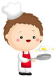 a boy cooking with a red apron - 230574360