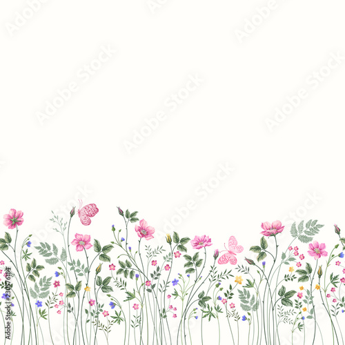 seamless floral border with roses and butterfly