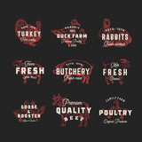Retro Cattle and Poultry Vector Logo Templates Set. Hand Drawn Vintage Domestic Animals and Birds Sketches with Vintage Typography. Pig, Cow, Chicken, Rabbit, Turkey, etc. Isolated Labels Collection